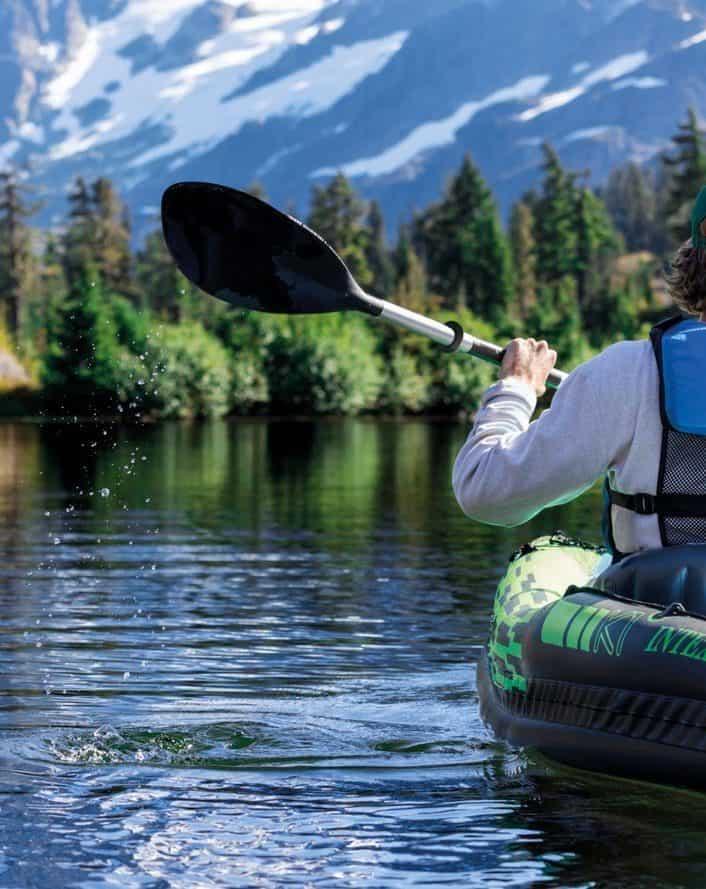 man having fun kayaking