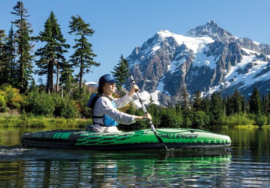 man kayaking with the Intex Challenger K1 Kayak