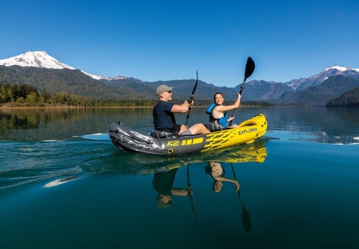 A couple having fun with their Intex Explorer K2 Kayak