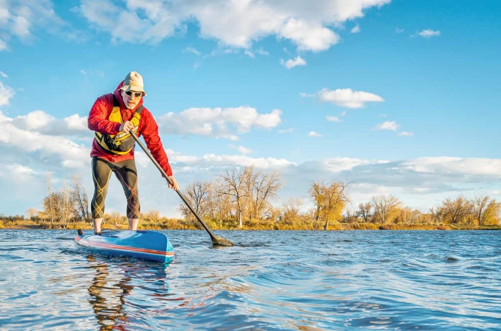 Picture of a man trying to keep balance while paddling