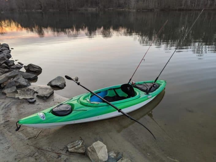 The Mustang 100X equipped with two rod holders, ready to go fishing
